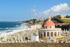 San Juan cemetery. Cemetery on the coast in Old San Juan with colorful dome Stock Photography