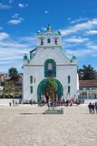 San Juan Chamula, Chiapas, Mexico. The church of San Juan is located in the municipal cabecera (headtown) The local form of Catholicism is a blend of pre royalty free stock image
