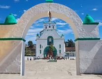 San Juan Chamula, Chiapas, Mexico. FEBRUARY 8, 2013: The church of San Juan is located in the municipal cabecera (headtown). The local form of Catholicism is royalty free stock photos