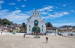 San Juan Chamula, Chiapas, Mexico. FEBRUARY 8, 2013: The church of San Juan is located in the municipal cabecera (headtown). The local form of Catholicism is stock image
