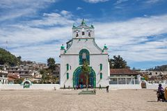 San Juan Chamula, Chiapas, Mexico. FEBRUARY 8, 2013: The church of San Juan is located in the municipal cabecera (headtown). The local form of Catholicism is royalty free stock image