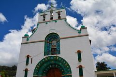 San Juan Chamula Church Chiapas Mexico. The beautiful colonial architecture of the San Juan Chamula Church a small village in the province of Chiapas in Mexico royalty free stock images