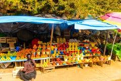 San Juan Chamula, Mexico. NOV 2, 2016: Market place of San Juan Chamula, state of Chiapas, Mexico. The town is inhabited by the indigenous Tzotzil Maya people royalty free stock photos