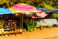 San Juan Chamula, Mexico. NOV 2, 2016: Market place of San Juan Chamula, state of Chiapas, Mexico. The town is inhabited by the indigenous Tzotzil Maya people stock photography
