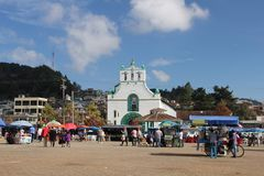 Plaza de la Paz square, San Juan Chamula, Mexico. San Juan Chamula is a municipality and township in the Mexican state of Chiapas. It is situated some 10 km from stock photos