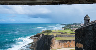 San Juan Coast from Castillo de San Cristobal Tower. Norther coastline of San Juan Puerto Rico from one of the guard towers located inside the old fort of royalty free stock photography