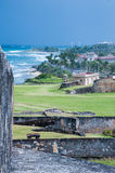 San Juan Coast from Castillo de San Cristobal Wall Royalty Free Stock Photos