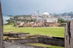 San Juan Coast de Castillo de San Cristobal Wall Foto de archivo