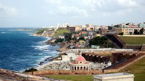 San Juan Coastline. Old San Juan, Puerto Rico Royalty Free Stock Photography