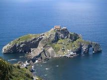 San Juan de Gazteluatxe, Vizcay, Spain. Ancient church/chapel on an island hill royalty free stock image