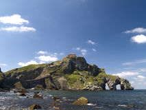 San Juan de Gazteluatxe, Vizcay, Spain. Ancient church/chapel on an island hill stock photos