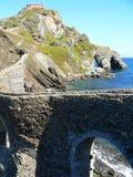 San Juan de Gaztelugatxe, Bermeo (Basque Country). Bridge and ascension path to the church of San Juan de Gaztelugatxe, Bermeo (Basque Country Royalty Free Stock Images