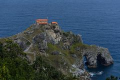 San juan de Gaztelugatxe chapel. Close up to the San juan de Gaztelugatxe`s chapel above some rocks at the Basque Country, Spain stock photos