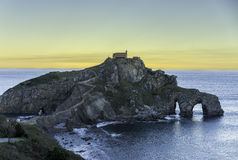 San Juan de Gaztelugatxe. Monastery at dawn Royalty Free Stock Photography