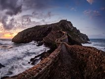 San Juan de Gaztelugatxe, old church dedicated to John the Baptis, Spain royalty free stock photo