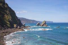 San Juan de Gaztelugatxe, Vizcaya, baskiskt land Spanien Sikt av det Cantabrian havet med blå himmel royaltyfri foto
