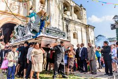New Year`s Day procession leaves church, near Antigua, Guatemala stock photo