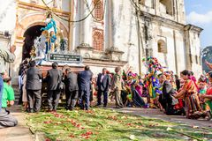 New Year`s Day procession leaves church, near Antigua, Guatemala royalty free stock images