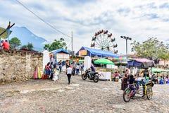 Village fair & Agua volcano, Guatemala royalty free stock photo