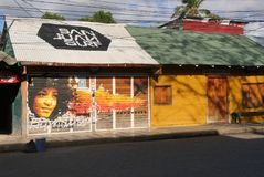 San Juan del Sur, Nicaragua. Frontage shop with graffiti, San Juan del Sur Street Stock Photo