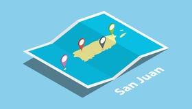San Juan explorent la nation de pays de cartes avec le style isométrique et goupillent l'étiquette d'emplacement sur le dessus Photographie stock libre de droits