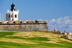 San Juan - faro del castillo del EL Morro Imagen de archivo