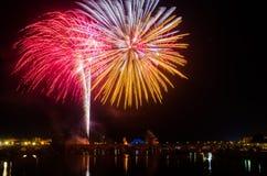 San Juan Fireworks em Badajoz, Extremadura, Espanha imagem de stock