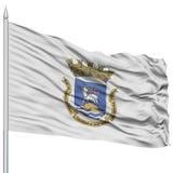 San Juan Flag sur le mât de drapeau, ondulant sur le fond blanc Images libres de droits