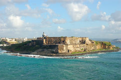 San juan,fortress. Old san juan,day,light,view by sea Stock Images