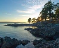 San Juan Islands Sunset with camp Royalty Free Stock Images
