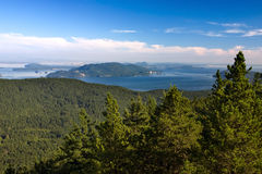 San Juan Islands view from Orcas Island stock image
