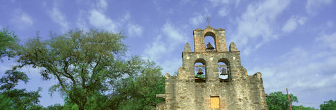 San Juan Mission National Park with close up of San Juan Mission Espada, San Antonio, TX Royalty Free Stock Image