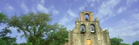 San Juan Mission National Park with close up of San Juan Mission Espada, San Antonio, TX Royalty Free Stock Image