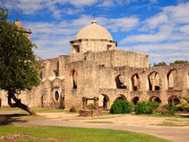 San Juan Mission in Texas. View of the garden and well in front of the San Juan Mission near San Antonio in Texas royalty free stock image