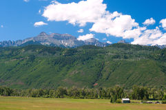 San Juan Mountains. Summer afternoon in Ridgway Valley at the foot of the San Juan Mountains in western Colorado's Ouray County Stock Photo
