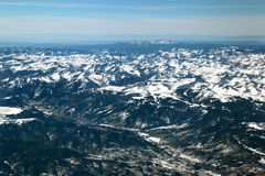 The San Juan mountains in the Colorado Rockies. Flying over the San Juan mountains covered in snow in winter in the Colorado rockies stock images