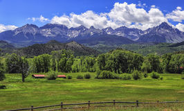 San Juan Mountains, Colorado. View of the Sneffels Range and private ranch land, located in the San Juan mountains of Colorado royalty free stock photography