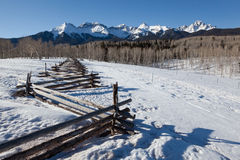 San Juan Mountains at dawn. Rustic fence in San Juan Mountains Royalty Free Stock Image