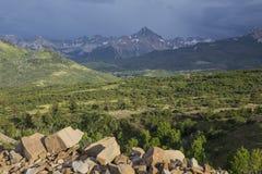 San Juan Mountains und Sturmwolken, Dallas Divide, Weg 62, zu Ridgway/zum Tellurid, Colorado, USA Lizenzfreie Stockfotos