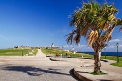 San Juan - palmiers et châteaux Images stock