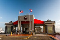 San Juan Port Authority Full Building. San Juan, Puerto Rico/US - JANUARY 30, 2018: San Juan Port Authority - Front view of the building Stock Photography