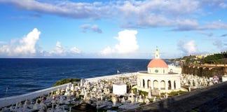 SAN JUAN, PORTO RICO - EM SETEMBRO DE 2017: Vista geral do Cementerio de Fotografia de Stock Royalty Free