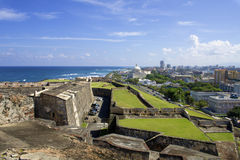 San Juan, Puerto Rico. Puerto Rico cityscape from castillo san cristobal stock image