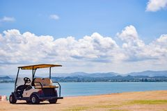 San Juan, Puerto Rico - April 02 2014: Parked empty golf cart royalty free stock photo
