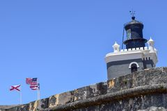 San Juan, Puerto Rico - April 02 2014: Vuurtoren van Castillo San Felipe del Morro royalty-vrije stock afbeeldingen