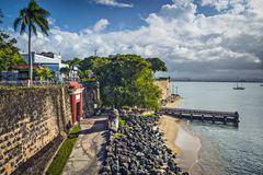 San Juan, Puerto Rico Coast. At Paseo de la Princesa Royalty Free Stock Photography