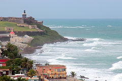 Coastline of San Juan in Puerto Rico Royalty Free Stock Photo