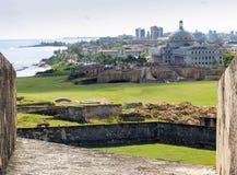 San Juan Puerto Rico-stad och havsikt från fästning Fotografering för Bildbyråer