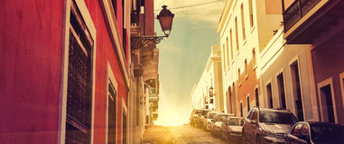 San Juan Streets - puesta del sol temprana Imagen de archivo libre de regalías