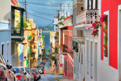 San Juan streetview. Beautiful typical traditional vibrant street in San Juan, Puerto Rico Royalty Free Stock Photography